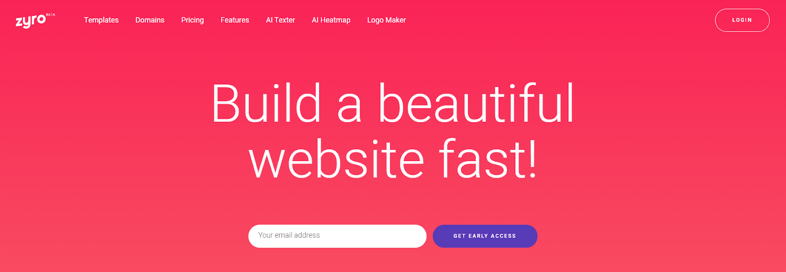 Zyro Website Builder homepage