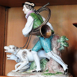 Antique figurine of a man and his dogs by Mary Gallo - Artistic Objects Antiques ( figurine, man and his dogs, statuette, artistic object, antique, object,  )