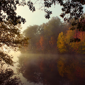 Foggy Morning at Lake by Gary Poulsen - Novices Only Landscapes ( reflection, fog, fall, lake,  )