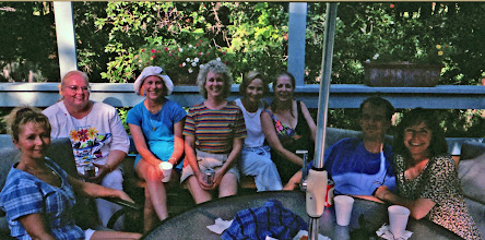 Photo: Planning the 1995 reunion at Carolyn (McGill) Hoelscher's home Suzy (Wright) Thomas, Rosemary (Worthy) Dooley, Carol (Craven) Barnes, Pam (Acree) Brown, Nancy (Seiler) McCarthy, Carolyn (McGill) Hoelscher, Scott Mitchell, Linda (Wilson) Mitchell