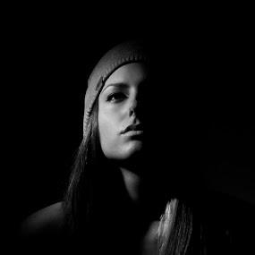 Radina by Bilyana Stoyanovska - People Portraits of Women ( lowlight, b&w, woman, dark, single light, portrait, closeup )