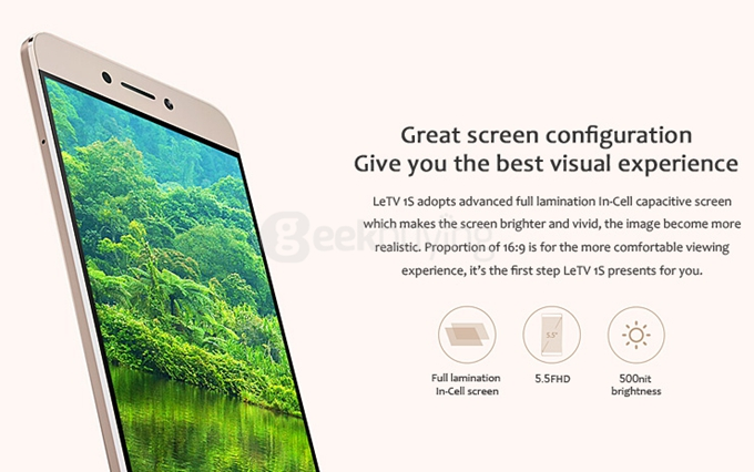 LeTV Le 1S Features: 5.5-inch display with 1920*1080 pixels of resolution. EUI base on Android Lollipop. MediaTek helio X10 octa-core processor 3GB RAM 32GB ROM 13MP rear camera 5MP front camera. 4G lte, 3G,2G Network GPS with GLONASS/A-GPS/BDS, 3,000mAh battery Type-C Quick Charge,Mirror surface fingerprints identification.possess features of beauty,good performance and great function.