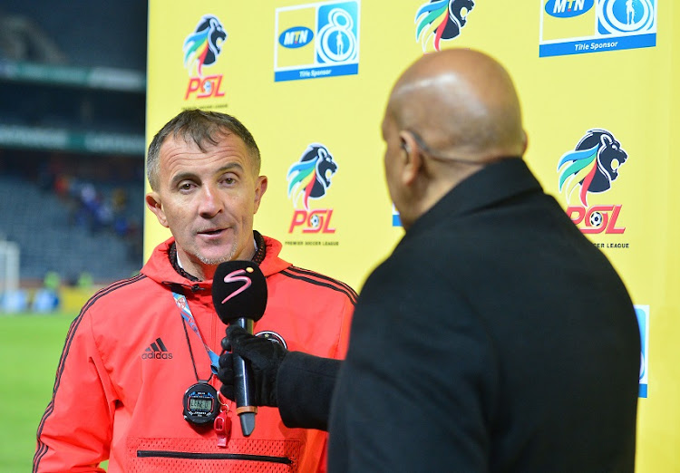 Micho Sredojevich, coach of Orlando Pirates during the 2018 MTN8 quarter finals match between Orlando Pirates and Supersport United at Orlando Stadium, Johannesburg on 11 August 2018.
