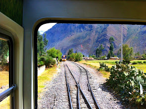 Photo: Another train coming.  Waiting for train to pass due to only one set of tracks.  Near Ollantaytambo.
