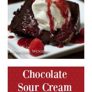 Chocolate Sour Cream Pound Cake with Raspberry Sauce.