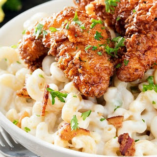 4 Cheese Mac and Cheese With Honey Pepper Chicken.