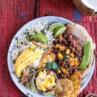 Caribbean Mango Pork and Tropical Rice Plates. Recipe