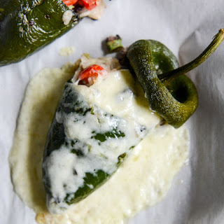 Cheesy Summer Stuffed Poblanos