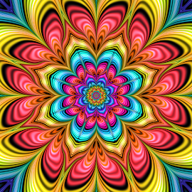 Flower 61 by Cassy 67 - Illustration Abstract & Patterns ( digital, love, psychedelic, harmony, trippy, light, fractal, abstract, energy, flower )