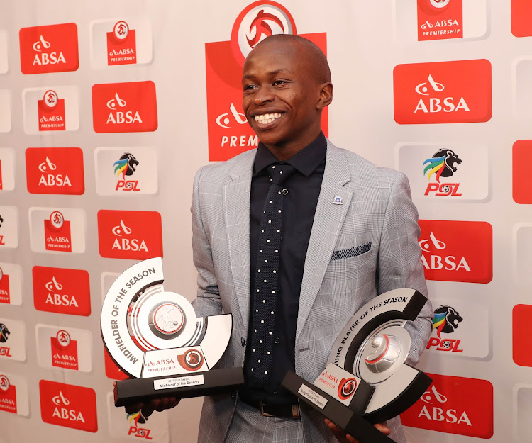 Siphesihle Ndlovu, Absa Premiership Young Player of the Season and Absa Premiership Midfielder of the Season during the 2017/18 PSL Awards at the Sandton Convention Centre, Johannesburg on May 29 2018.