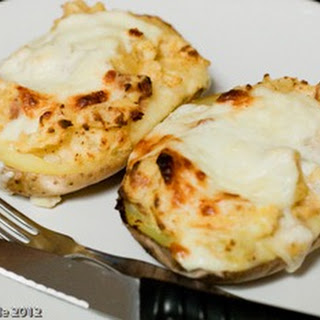 Cheese and Ham Stuffed Baked Potatoes.