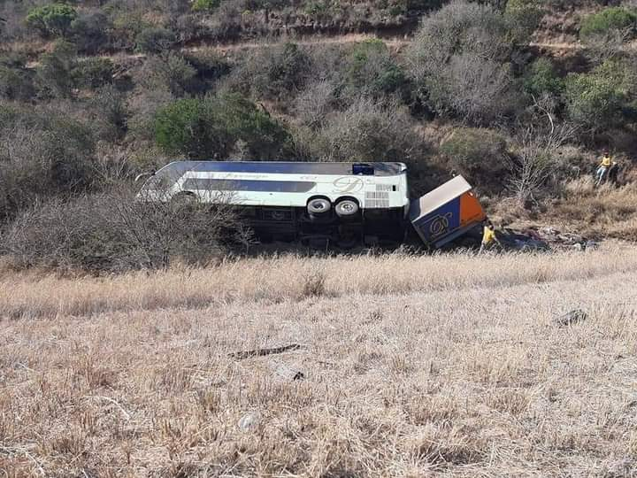The luxury bus overturned on the N2 between East London and Butterworth.