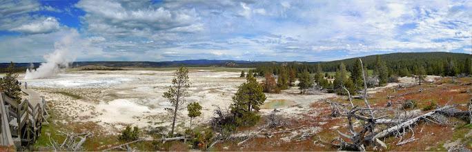 Photo: Panorama at Paint Pot geyser