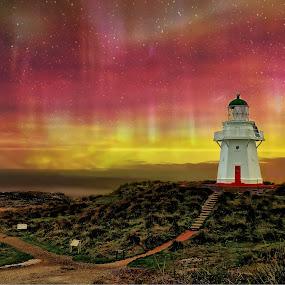 Colours of Waipapa by Jomy Jose - Landscapes Starscapes ( waipapa point, aurora australias, hannahsdreamz, light house, inver cargill, jomy jose, new zealand )