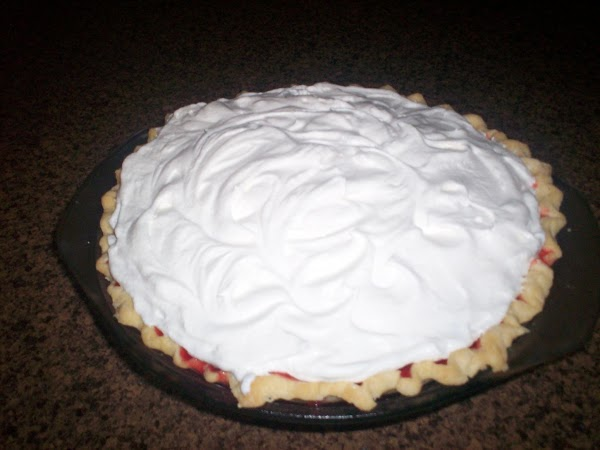 Serve with whipped topping, ( I spread a layer on to of the pie.)