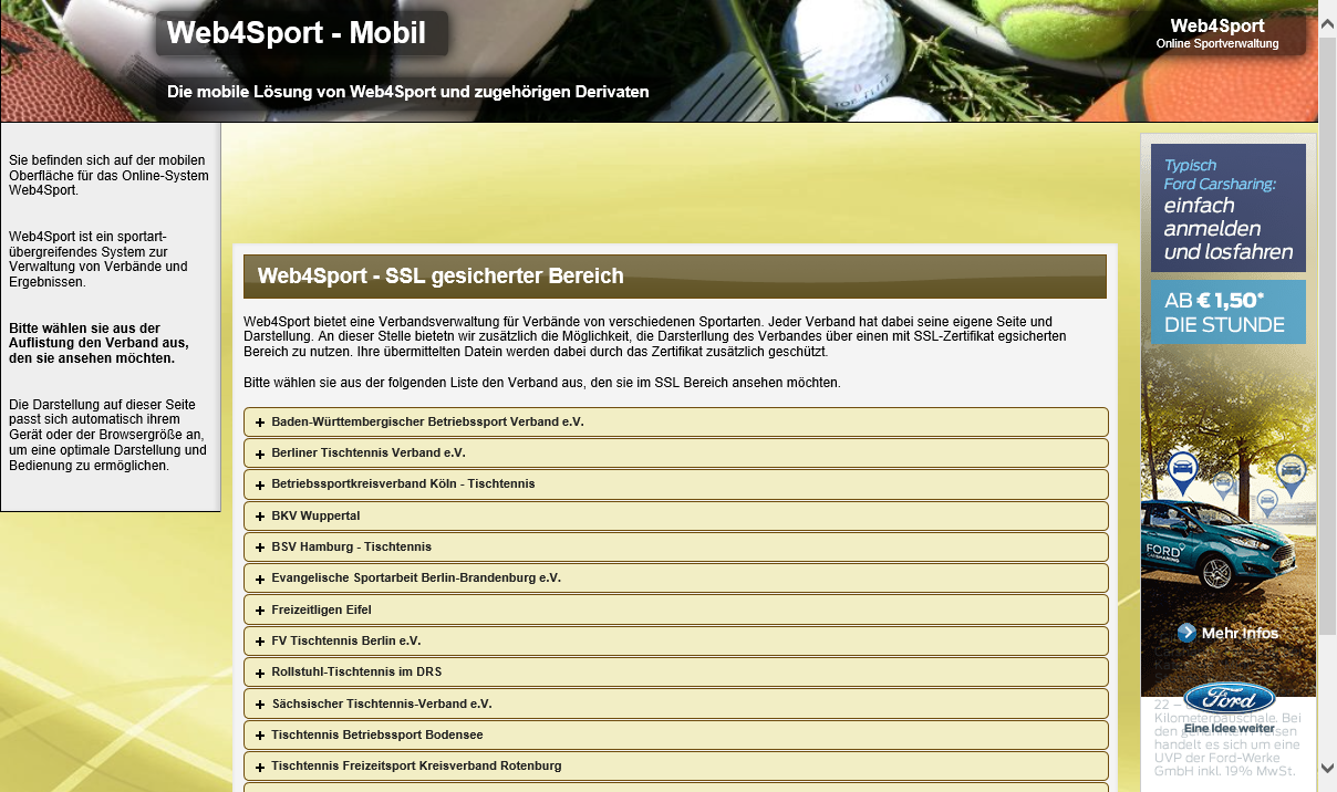 Web4Sport- screenshot