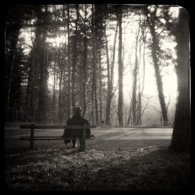 Not enough love by Sasa Lazic - People Street & Candids ( bench, street, ttv, bw, forest, square, man )
