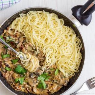 Creamy Mushroom & Sun-Dried Tomato Spaghetti.