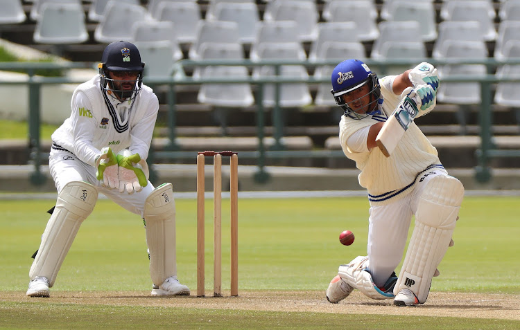 Zubayr Hamza (R) of Cape Cobras bats during Day 2 of the 4-Day Franchise Series cricket match against The Knights at Newlands Cricket Ground in Cape Town on October 2 2018.