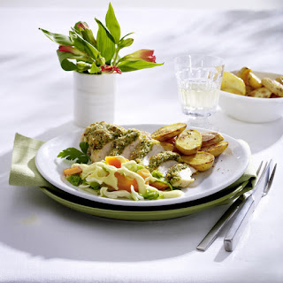 Herb Crusted Chicken with Vegetables and Hollandaise Sauce.