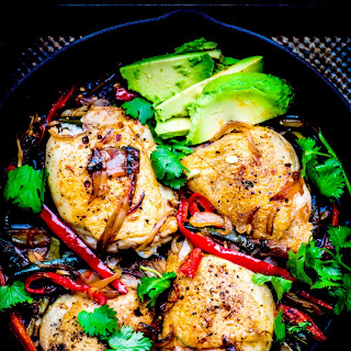 Roasted Chicken Thighs with pepper.