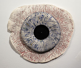 """Photo: """"Iris"""" Underglaze layers applied to greenware, scraped off, fired, then clear glazed."""