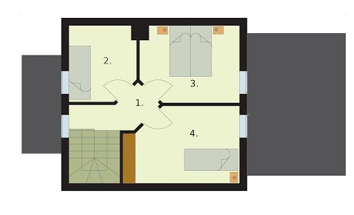 Orlean 3 dom letniskowy z poddaszem szkielet drewniany - Rzut poddasza