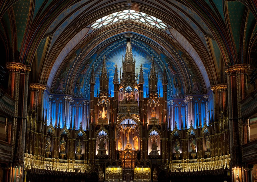 Notre-Dame Basilica of Montreal by Tanya Witzel - Buildings & Architecture Other Interior ( canon, interior, montreal, church, canada, arch, faith, religion, lights, quebec, candles, christ, design )
