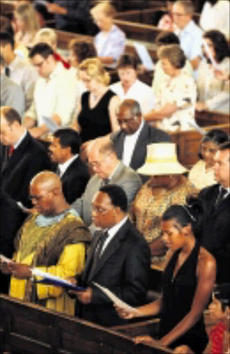 UNBIASED: President Kgalema Motlanthe attends the church service after his State of the Nation address. The sermon was conducted by reverend Johan Botes at the Nederduitse Gereformeede in Cape Town. 08/02/09. Pic. Elmond Jiyane. © Unknown.