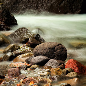 colorful stones  by Frederiko Ferry - Nature Up Close Rock & Stone ( nature, lava stone, stone, color stone, rock, river, Water )