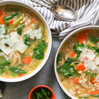 Frozen Vegetable Soup with Farro and Chicken Sausage.