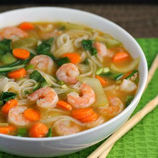 Asian Rice Noodle Soup with Shrimp.