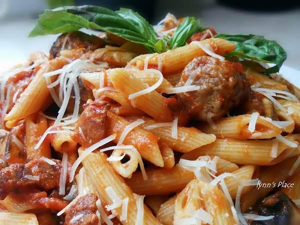 Sausage, Bacon & Mushroom Pasta With Sauce