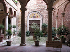 Photo: The courtyard of our hotel in Montepulciano, Mueble Il Riccio is a 15th century building.