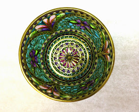Photo: Plique-à-Jour Enamels by Diane Echnoz Almeyda - Violets Bowl #023 11/98 - 18K Gold, Plique-à-Jour Enamels - Approximate size 33mm (h) x 48mm (diam) - $6500.00 US View looking down to bottom of vessel.