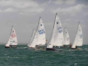 Photo: Just after the start. #1800 Cognos sailed by Kevin Whitehead and Jane Hawkins have a good bouy end start. Brett & Penny Linton in #1530 Rhythm & Swing have an equally good but mid line start.