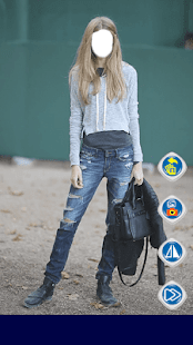 Girls Blue Jeans Photo Editor - náhled