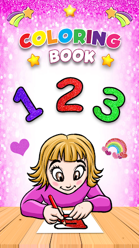 Glitter Number and letters coloring Book for kids screenshot 16