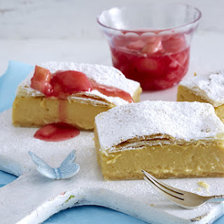 Vanilla Custard Bars with Rhubarb Compote