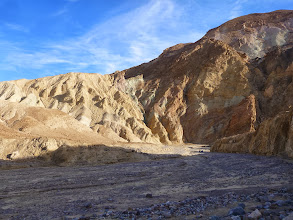 Photo: The fault contact between Artists Drive and the Golden Canyon group of seds.
