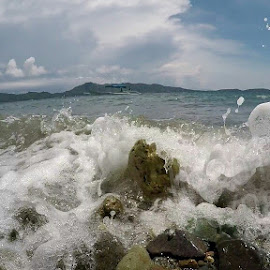 Crash by Lois Caronongan - Landscapes Beaches ( water, splash, splasj, rocks, crash,  )