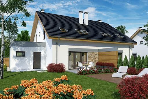 projekt Azalia z garażem 1-st. bliźniak A-BL2