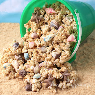 Beach Party Popcorn - Peanut Butter Popcorn Speckled with Chocolate Sea Shells