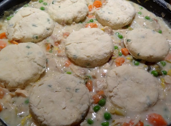 Place them on top of the pot pie filling, and bake them for 25...