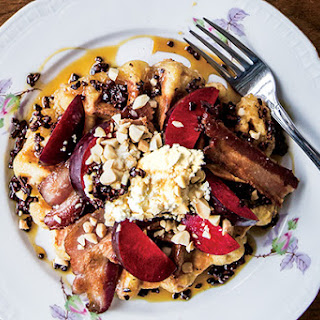 Earl Sugar Waffles With Bacon And Plums