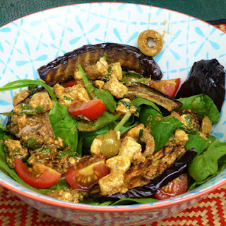 Roasted Eggplant/Aubergine and Spinach Salad with a Feta, Olive, Lemon and Herb Dressing