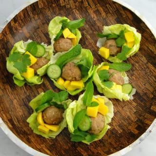 Thai-style Meatballs in Lettuce Cups.