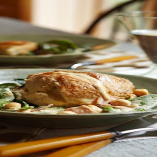 Creamy Chicken with Spinach and Chickpeas.