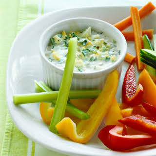 Herbed Yogurt Dip with Eggs and Scallions.