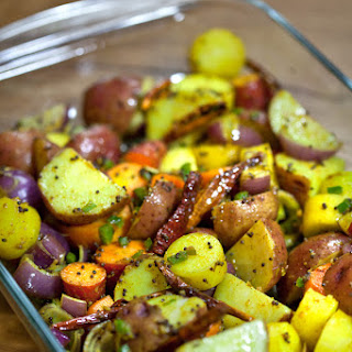 Oven roasted root vegetables with Indian spices